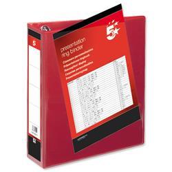 5 Star Office Presentation Ring Binder Polypropylene 4 D-Ring 65mm Size A4 Red [Pack 10]