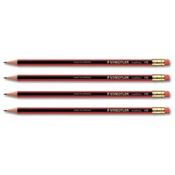 Staedtler 110 Tradition HB Pencil with Rubber Tip Eraser Ref 112HBRT - Pack 12