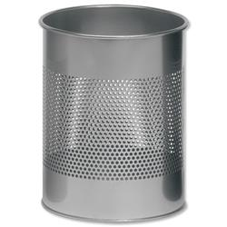 Durable Bin Round Metal 165mm Perforated D260xH315mm 15 Litres Metallic Silver Ref 3310/23
