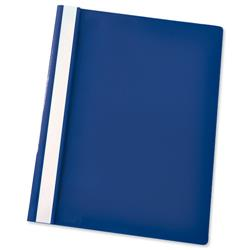 Esselte Report Flat File Lightweight Plastic Clear Front A4 Dark Blue Ref 28315 - Pack 25