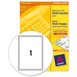 Avery White Copier Labels 1 per Sheet A4 210x297mm White Ref 3478 - 100 Labels