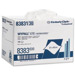 Kimberly-Clark WYPALL X70 Brag Box Cleaning Wipers Approx. 150 Cloths Size 310x420mm Ref 8383