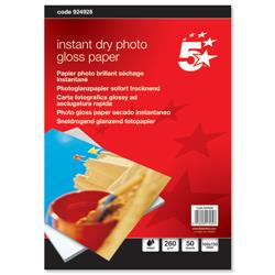 5 Star Office Paper Inkjet Photo Gloss Fast Drying 260gsm 100x150mm [50 Sheets]
