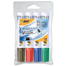 Bic 1781 Whiteboard Marker Chisel Tip Line Width 3.5-5.5mm Assorted Ref 119900178 - Pack 4