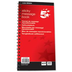 5 Star Office Telephone Message Book Wirebound Carbonless Sticky 320 Notes 80 Pages 279x152mm