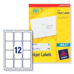 Avery J8164 Inkjet Address Labels 63.5x72mm 12 per Sheet Ref J8164-100 - Pack 120