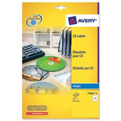 Avery C9660 Full Face Inkjet CD Labels Glossy 117mm Dia. Ref C9660-25 - 25 Sheets