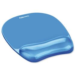 Fellowes Crystal Mouse Mat Pad with Wrist Rest Gel Blue Ref 91141 - Free Wrist Rest