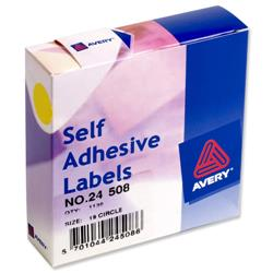 Avery 24-508 Label Dispenser 19mm diameter Yellow Ref 24-508 - 1120 Labels