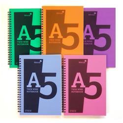 Silvine Notebook Wirebound Polypropylene 60gsm 160pp A5 Assorted Ref POLYA5AC [Pack 5]