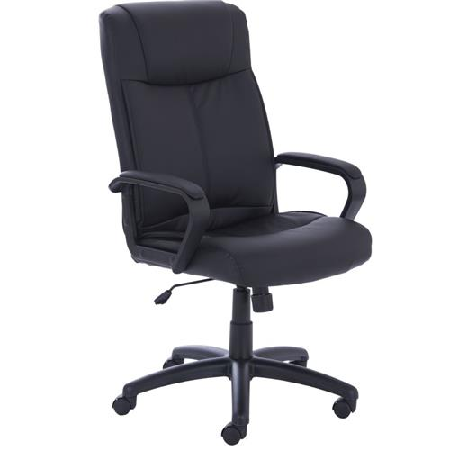 Precinct Executive Black Bonded Leather Chair With Arms  Ref EX000180