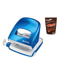 Leitz NeXXt WOW Hole Punch 3mm 30 Sheet Blue Ref 50081036L - FREE Rolos Pouch