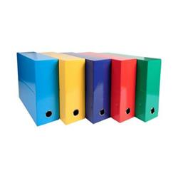 Iderama Transfer File 90mm Spine Thumb Hole A4 Assorted Standard Colours [Pack 5]