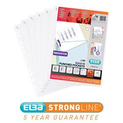 Elba Heavy Duty Quick-in Punched Pocket Polypropylene A4 Clear Ref 400012939 [Pack 100] - 3 for 2