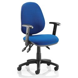 Luna III Lever Task Operator Chair Blue Fabric With Height Adjustable Arms Ref KC0141