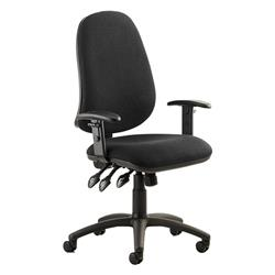 Eclipse XL III Lever Task Operator Chair Black Fabric With Height Adjustable Arms Ref KC0035