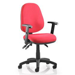 Luna III Lever Task Operator Chair Burgundy Fabric With Height Adjustable Arms Ref KC0142
