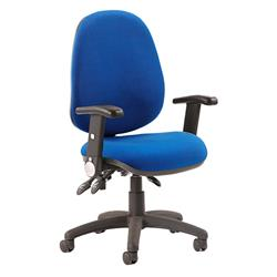 Luna III Lever Task Operator Chair Blue Fabric With Height Adjustable And Folding Arms Ref KC0145