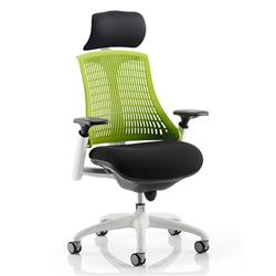 Flex Task Operator Chair White Frame Black Fabric Seat With Green Back With Arms With Headrest Ref KC0090