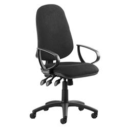 Eclipse XL III Lever Task Operator Chair Black Fabric With Loop Arms Ref KC0032