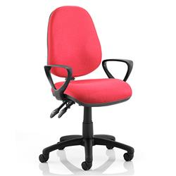 Luna II Lever Task Operator Chair Burgundy Fabric With Loop Arms Ref KC0126