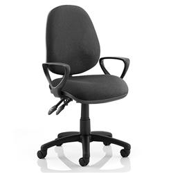 Luna II Lever Task Operator Chair Black Fabric With Loop Arms Ref KC0124