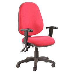 Luna II Lever Task Operator Chair Burgundy Fabric With Height Adjustable And Folding Arms Ref KC0134