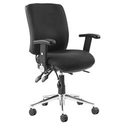 Chiro Task Operators Chair Black Fabric With Height Adjustable And Folding Arms Medium Back Ref KC0003