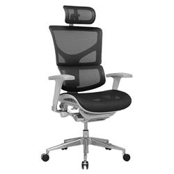 Ergo-Dynamic Posture Chair Black Mesh Grey Frame With Arms With Headrest Ref KC0051