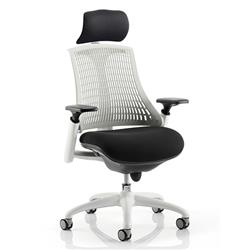 Flex Task Operator Chair White Frame Black Fabric Seat With Moonstone White Back With Arms With Headrest Ref KC0088