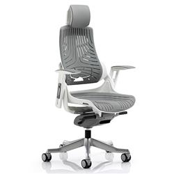 Zure Executive Chair Elastomer Gel Grey With Arms With Headrest Ref KC0164