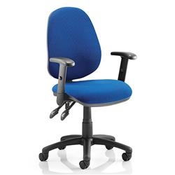 Luna II Lever Task Operator Chair Blue Fabric With Height Adjustable Arms Ref KC0129