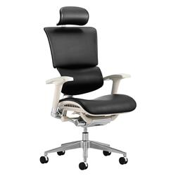 Ergo-Dynamic Posture Chair Black Bonded Leather Grey Frame With Arms With Headrest Ref KC0052