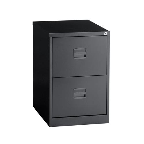 Trexus By Bisley 2 Drawer Foolscap Lockable Steel Filing Cabinet Black Ref  CC2H1A Av1