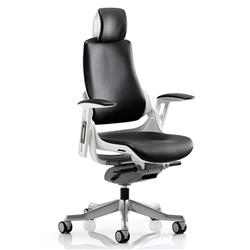 Zure Executive Chair Black Bonded Leather With Arms With Headrest Ref KC0166