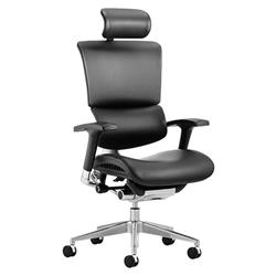 Ergo-Dynamic Posture Chair Black Bonded Leather Black Frame With Arms With Headrest Ref KC0049