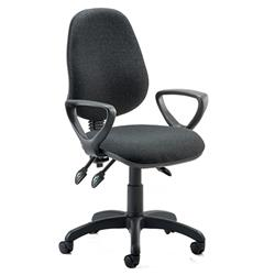 Eclipse III Lever Task Operator Chair Charcoal Fabric With Loop Arms Ref KC0040