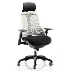 Flex Task Operator Chair Black Frame With Black Fabric Seat Moonstone White Back With Arms With Headrest Ref KC0104
