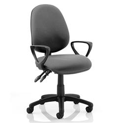 Luna II Lever Task Operator Chair Charcoal Fabric With Loop Arms Ref KC0127