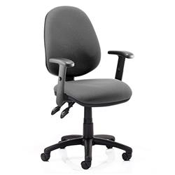 Luna II Lever Task Operator Chair Charcoal Fabric With Height Adjustable Arms Ref KC0131