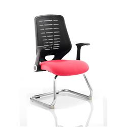 Relay Visitor Chair Cantilever Cherry Colour Black Back With Arms Ref KCUP0521