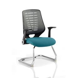 Relay Visitor Chair Cantilever Kingfisher Colour Silver Back With Arms Ref KCUP0535