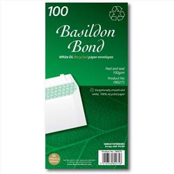 Basildon Bond Envelopes Recycled Wallet Peel and Seal 120gsm DL White Ref F80275 [Pack 100]