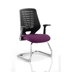 Relay Visitor Chair Cantilever Purple Colour Black Back With Arms Ref KCUP0528