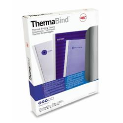GBC A4 Thermal Binding Cover 1.5mm 200gsm PVC/Gloss Back Clear/White Pk 25 Ref 45445