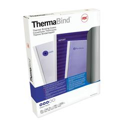 GBC A4 Thermal Binding Cover 3mm 200gsm PVC/Gloss Back Clear/White Pk 25 Ref 45440