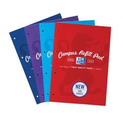 Oxford Campus Refill Pad 90gsm 300pp A4 Assorted Ref 400033050 [Pack 3]