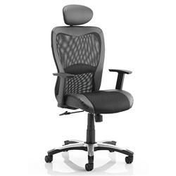Victor II Executive Chair Black Leather Black Mesh Fabric With Arms Fabric With Headrest Ref KC0160