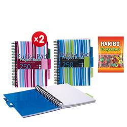 Pukka Pad Project Book Wirebound Perforated Ruled 3-Divider 80gsm 250pp A5 Assorted Ref PROBA5 - Pack 3 - x2 + FREE 3 x Haribo Tangfastics