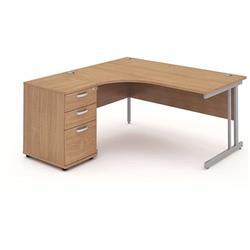 Impulse 1600 Left Hand Cantilever Workstation 600 Pedestal Beech Ref I000537